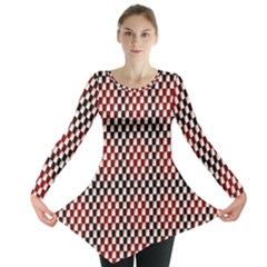 Squares Red Background Long Sleeve Tunic