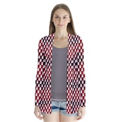 Squares Red Background Cardigans