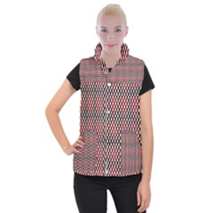 Squares Red Background Women s Button Up Puffer Vest