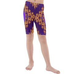 Something Different Fractal In Orange And Blue Kids  Mid Length Swim Shorts