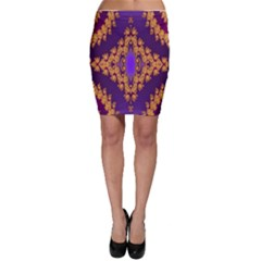 Something Different Fractal In Orange And Blue Bodycon Skirt