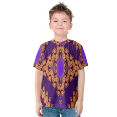 Something Different Fractal In Orange And Blue Kids  Cotton Tee