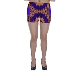 Something Different Fractal In Orange And Blue Skinny Shorts