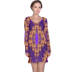 Something Different Fractal In Orange And Blue Long Sleeve Nightdress