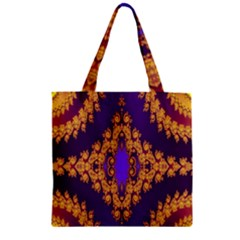 Something Different Fractal In Orange And Blue Zipper Grocery Tote Bag