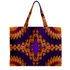 Something Different Fractal In Orange And Blue Zipper Mini Tote Bag