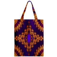 Something Different Fractal In Orange And Blue Zipper Classic Tote Bag