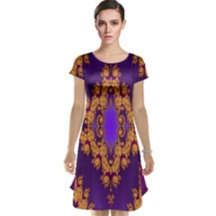 Something Different Fractal In Orange And Blue Cap Sleeve Nightdress