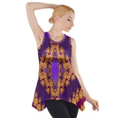 Something Different Fractal In Orange And Blue Side Drop Tank Tunic