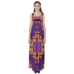 Something Different Fractal In Orange And Blue Empire Waist Maxi Dress