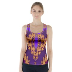 Something Different Fractal In Orange And Blue Racer Back Sports Top