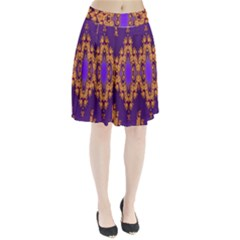 Something Different Fractal In Orange And Blue Pleated Skirt