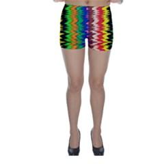 Colorful Liquid Zigzag Stripes Background Wallpaper Skinny Shorts