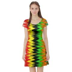Colorful Liquid Zigzag Stripes Background Wallpaper Short Sleeve Skater Dress