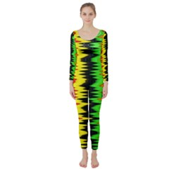 Colorful Liquid Zigzag Stripes Background Wallpaper Long Sleeve Catsuit