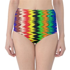 Colorful Liquid Zigzag Stripes Background Wallpaper High Waist Bikini Bottoms