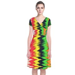 Colorful Liquid Zigzag Stripes Background Wallpaper Short Sleeve Front Wrap Dress