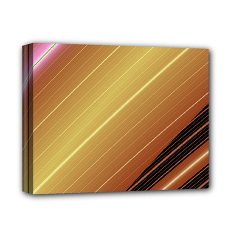Diagonal Color Fractal Stripes In 3d Glass Frame Deluxe Canvas 14  x 11