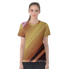 Diagonal Color Fractal Stripes In 3d Glass Frame Women s Cotton Tee