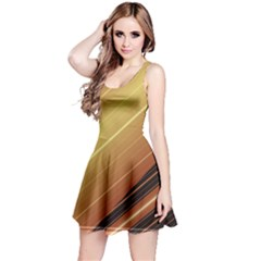 Diagonal Color Fractal Stripes In 3d Glass Frame Reversible Sleeveless Dress