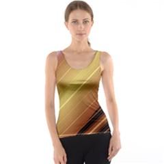 Diagonal Color Fractal Stripes In 3d Glass Frame Tank Top