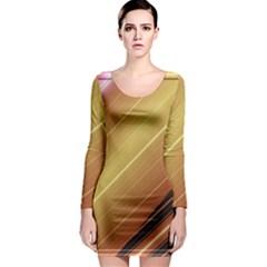 Diagonal Color Fractal Stripes In 3d Glass Frame Long Sleeve Bodycon Dress