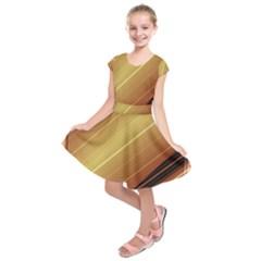 Diagonal Color Fractal Stripes In 3d Glass Frame Kids  Short Sleeve Dress