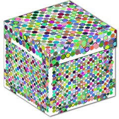 Colorful Dots Balls On White Background Storage Stool 12