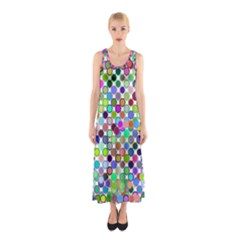 Colorful Dots Balls On White Background Sleeveless Maxi Dress