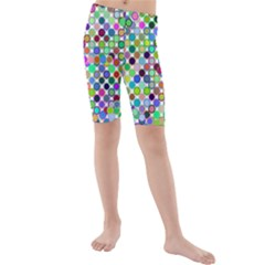 Colorful Dots Balls On White Background Kids  Mid Length Swim Shorts