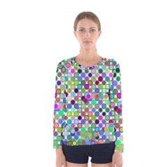 Colorful Dots Balls On White Background Women s Long Sleeve Tee