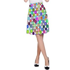 Colorful Dots Balls On White Background A Line Skirt