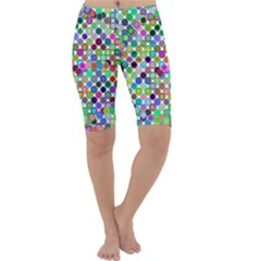 Colorful Dots Balls On White Background Cropped Leggings