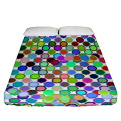 Colorful Dots Balls On White Background Fitted Sheet (queen Size)