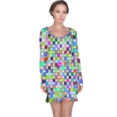 Colorful Dots Balls On White Background Long Sleeve Nightdress