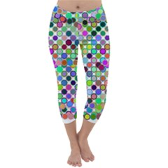 Colorful Dots Balls On White Background Capri Winter Leggings