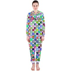 Colorful Dots Balls On White Background Hooded Jumpsuit (Ladies)