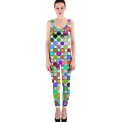 Colorful Dots Balls On White Background Onepiece Catsuit