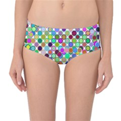 Colorful Dots Balls On White Background Mid-Waist Bikini Bottoms