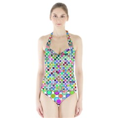 Colorful Dots Balls On White Background Halter Swimsuit