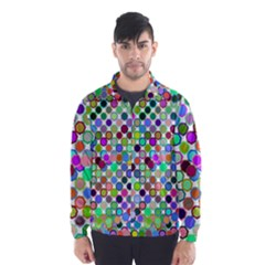Colorful Dots Balls On White Background Wind Breaker (Men)