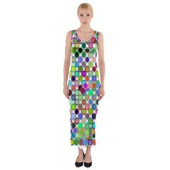 Colorful Dots Balls On White Background Fitted Maxi Dress