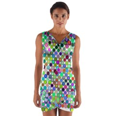 Colorful Dots Balls On White Background Wrap Front Bodycon Dress