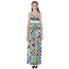Colorful Dots Balls On White Background Empire Waist Maxi Dress