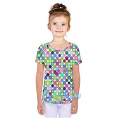 Colorful Dots Balls On White Background Kids  One Piece Tee