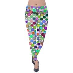 Colorful Dots Balls On White Background Velvet Leggings