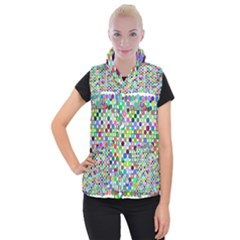 Colorful Dots Balls On White Background Women s Button Up Puffer Vest