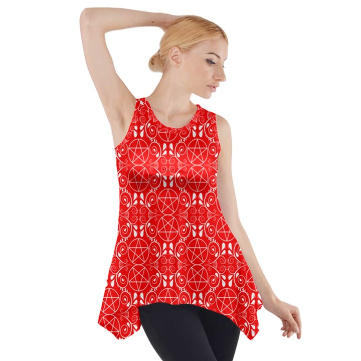 Red with White Pagan Pentacles Wiccan Side Drop Tank Tunic