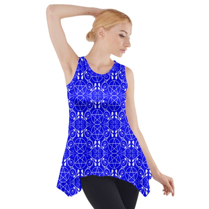 Royal Blue with White Pagan Pentacles Wiccan Side Drop Tank Tunic