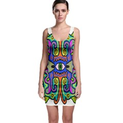 Abstract Shape Doodle Thing Sleeveless Bodycon Dress